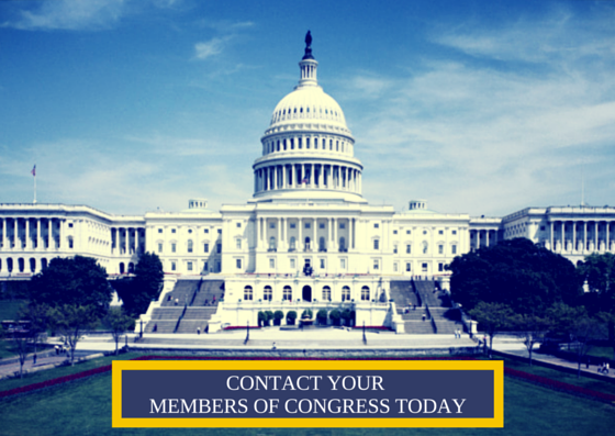A picture of the Capital Building with the text: Contact Your Members of Congress Today