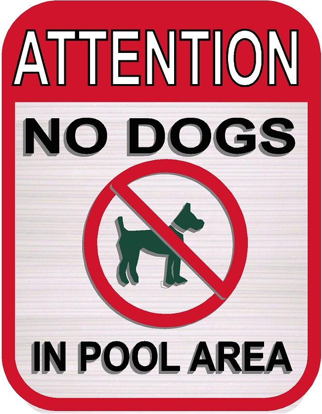 "GB16776 - Carved, HDU With Pictogram ""Attention No Dogs in Pool Area"""
