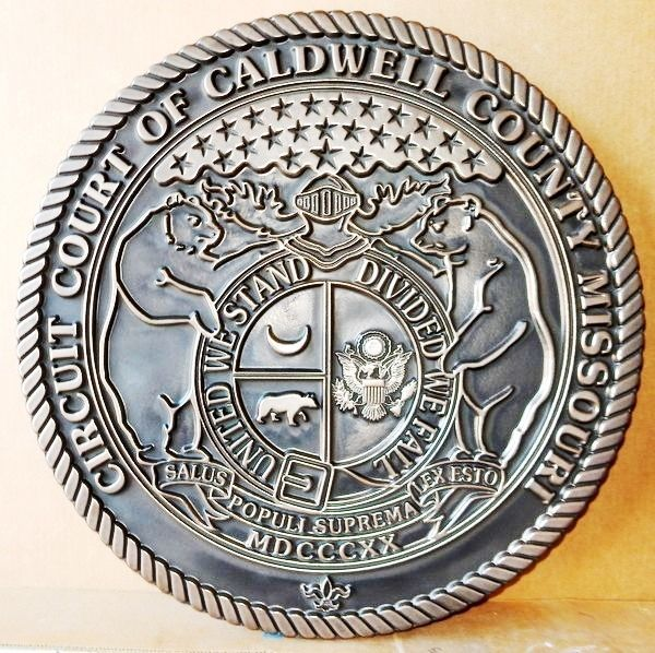 HP-1090 - Carved Plaque of the Seal of the Circuit Court of Caldwell County, Missouri, Bronze Plated