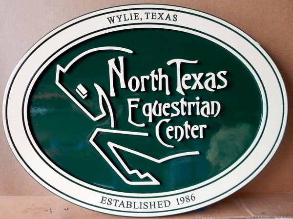 P25126 - Carved Wood Sign for North Texas Equestrian Center, with  Outline of Horse Head