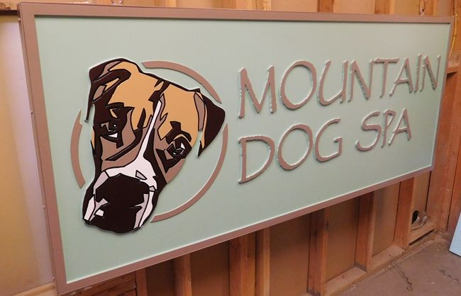 """S28021A - Carved 2.5-D HDU Sign for the sign made for the """"Mountain Dog Spa"""" , with Dog's Head as Artwork"""
