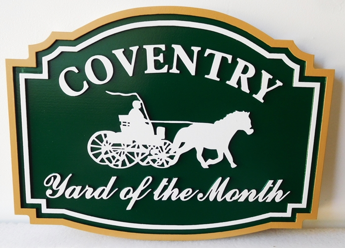 "KA20958- Carved Yard-of-the-Month Sign for ""Coventry"" HOA"