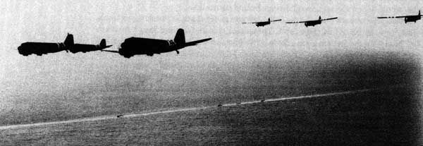 C-47s towing gliders over the English Channel, June 6, 1944