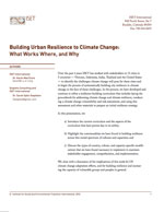 Building Urban Resilience to Climate Change: What Works, Where and Why
