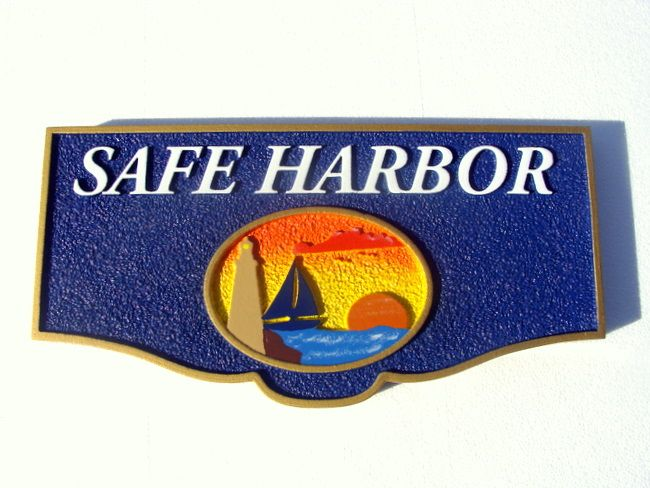 "L21252 - Seashore Residence  Name Sign ""Safe Harbor"" with Sailboat and Lighthouse at Sunset"