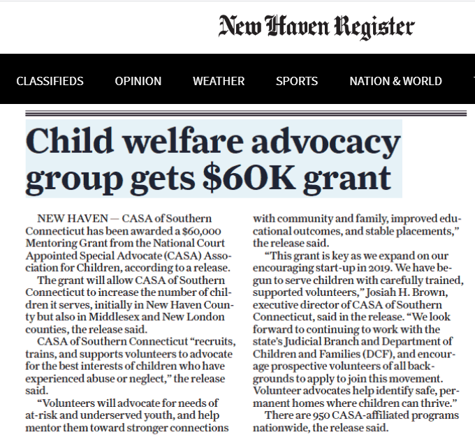 """Child welfare advocacy group gets $60K grant"""