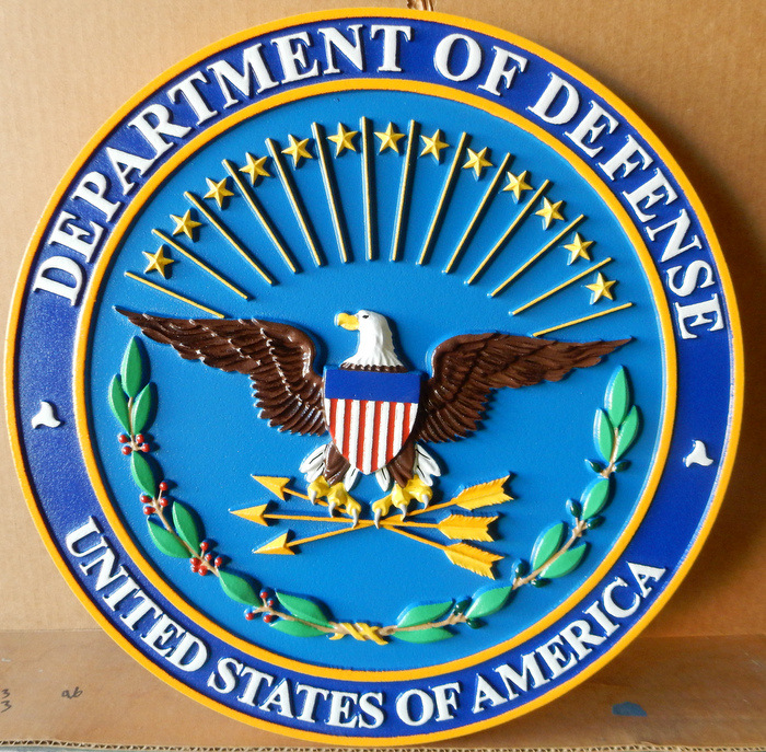 AP-2220 -  Carved Plaque of the Seal of the Department of Defense, Artist Painted