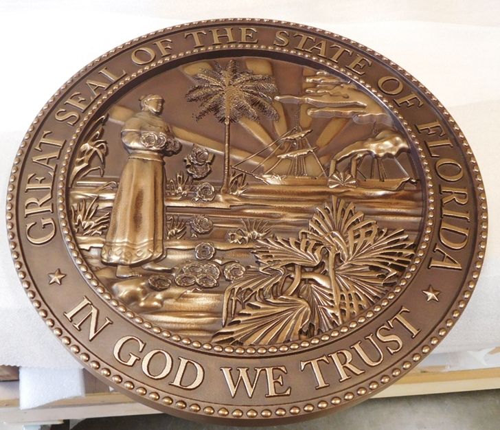 BP-1144 - Carved Plaque of the Great Seal of the State of Florida (Old Style), Bronze-Plated