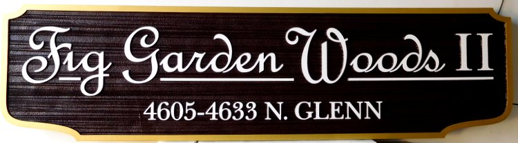 "K20209 - Carved Entrance Sign to ""Fig Garden Woods"" Residential Community"