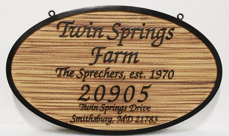 O24916 - Carved and Sandblasted Wood Grain 2.5-D Raised Relief  Name and Address Sign for the Twin Springs Farm.