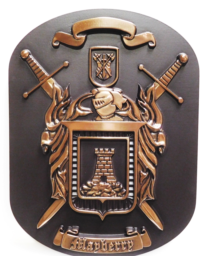 MA1125- Mayberry Family Coat-of-Arms/Crest Crest with Swords, Shield and Castle