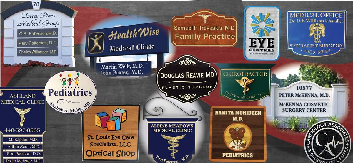 Custom carved wooden doctor physician sign