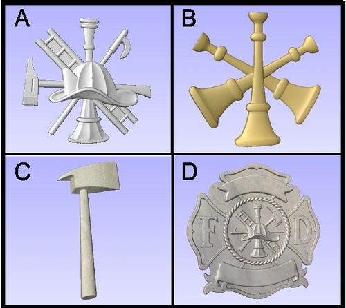 X33650 - 3D Carved Firefighter Symbols, Used as Appliques on Wall Plaques for Fire Departments