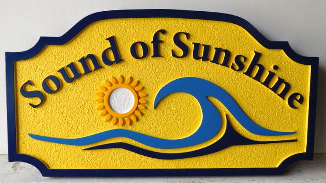 "L21173 - Sandblasted HDU Sign for ""The Sound of Sunshine"" Beach House, with Surf and Sun"