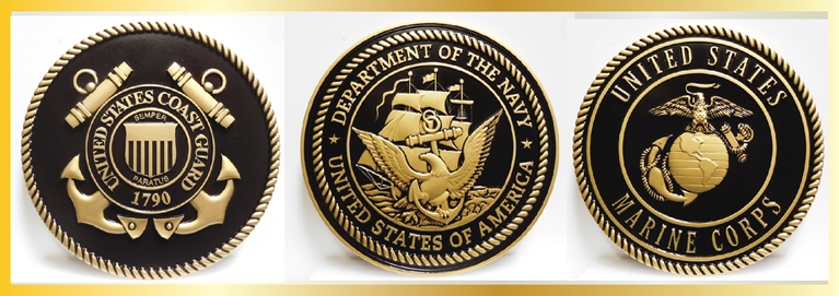 IP-1305 - Plaques of the Seals of the Armed Forces, 3-D Artist_painted in Gold and Black
