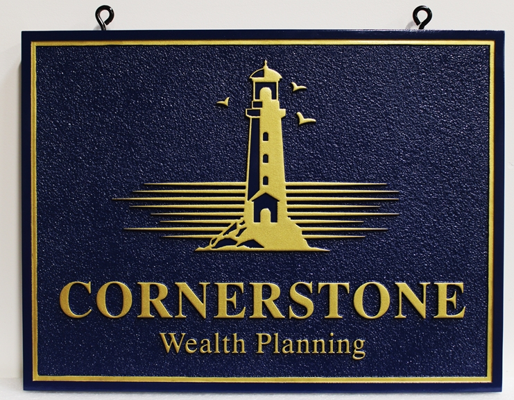 C12042 - Carved High-Density-Urethane (HDU) entrance sign was for Cornerstone Financial Planning, 2.5-D