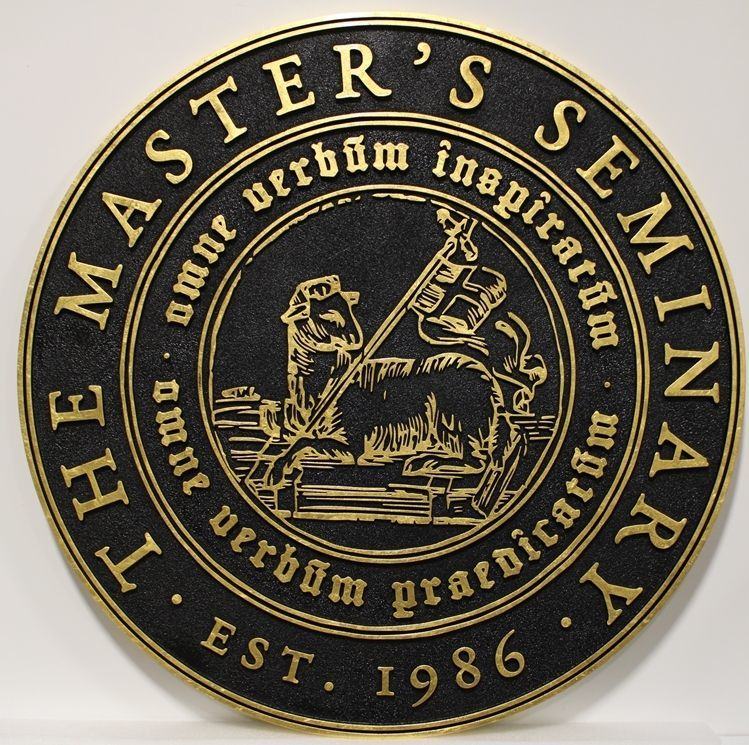"""D13137 - Carved 2.5-D HDU Plaque for """"The Master's Seminary"""", with 24K Gold Leaf Gulded Text, Border and Artwork, a Reclining Lamb and Flag"""