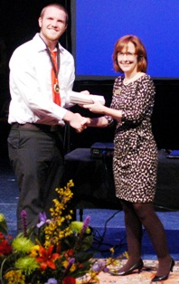 Jeanie Thompson congratulates Jakob G. Suell, 2nd Place, Original Poetry