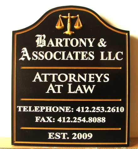 A10167 - Black and Gold Carved HDU Law Firm Sign