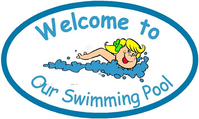GB16160- Design of an HDU Welcome Sign for a Swimming Pool Showing a Little Girl Swimming
