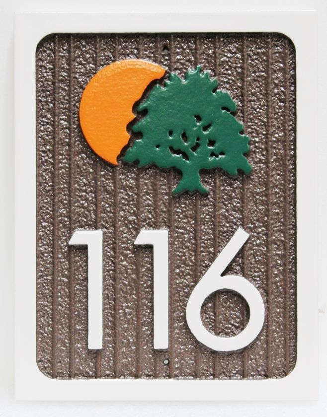KA20873 - Carved and Sandblasted High-Density-Urethane (HDU)Unit NumberSign, with A Tre and Setting Sun Logo as Artwork