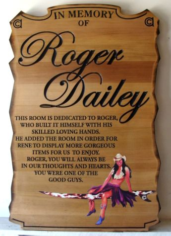 GC16620 - Engraved Cedar Wood Memorial wall Plaque Honoring Roger Dailey. with Seated Cowgirl as Artwork