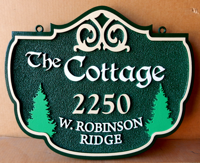 M22096 - sandstone-Look Cottage Address Sign with Evergreen Trees