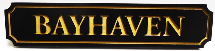 """L21897 - Engraved Quarterboard sign """"Bayhaven"""" for a Coastal Residence, with 24K Gold Leaf Gilded Text and Border"""