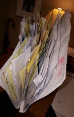 File folder full of handwritten letters