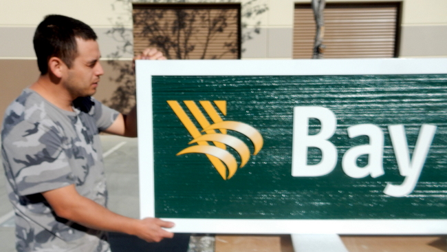 C12210A - Close-up of Large Outside Bank Sign