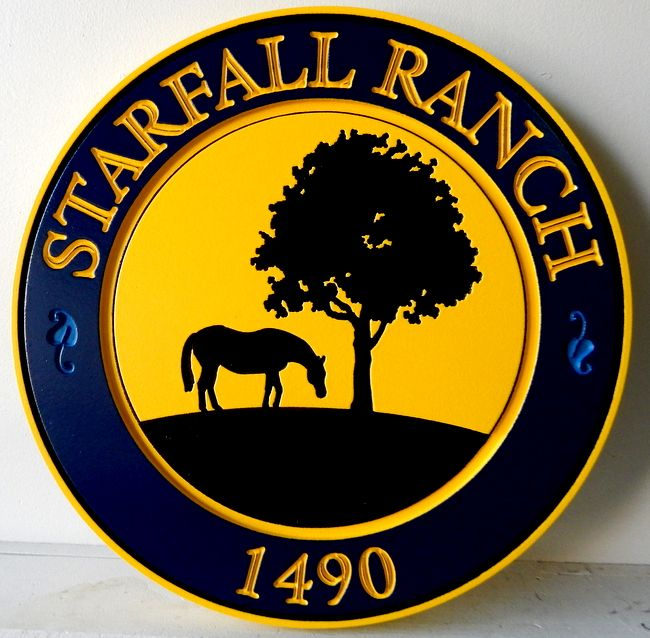 O24889 - Engraved Ranch Sign with Silhouette of Tree and Horse