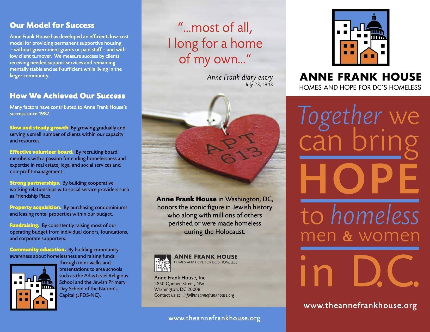 Get Connected - Brochure picture links to PDF of Anne Frank House DC Brochure