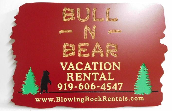 "M22890 - Engraved Cedar Wood ""Bull 'N Bear"" Vacation Cabin Rental Sign"