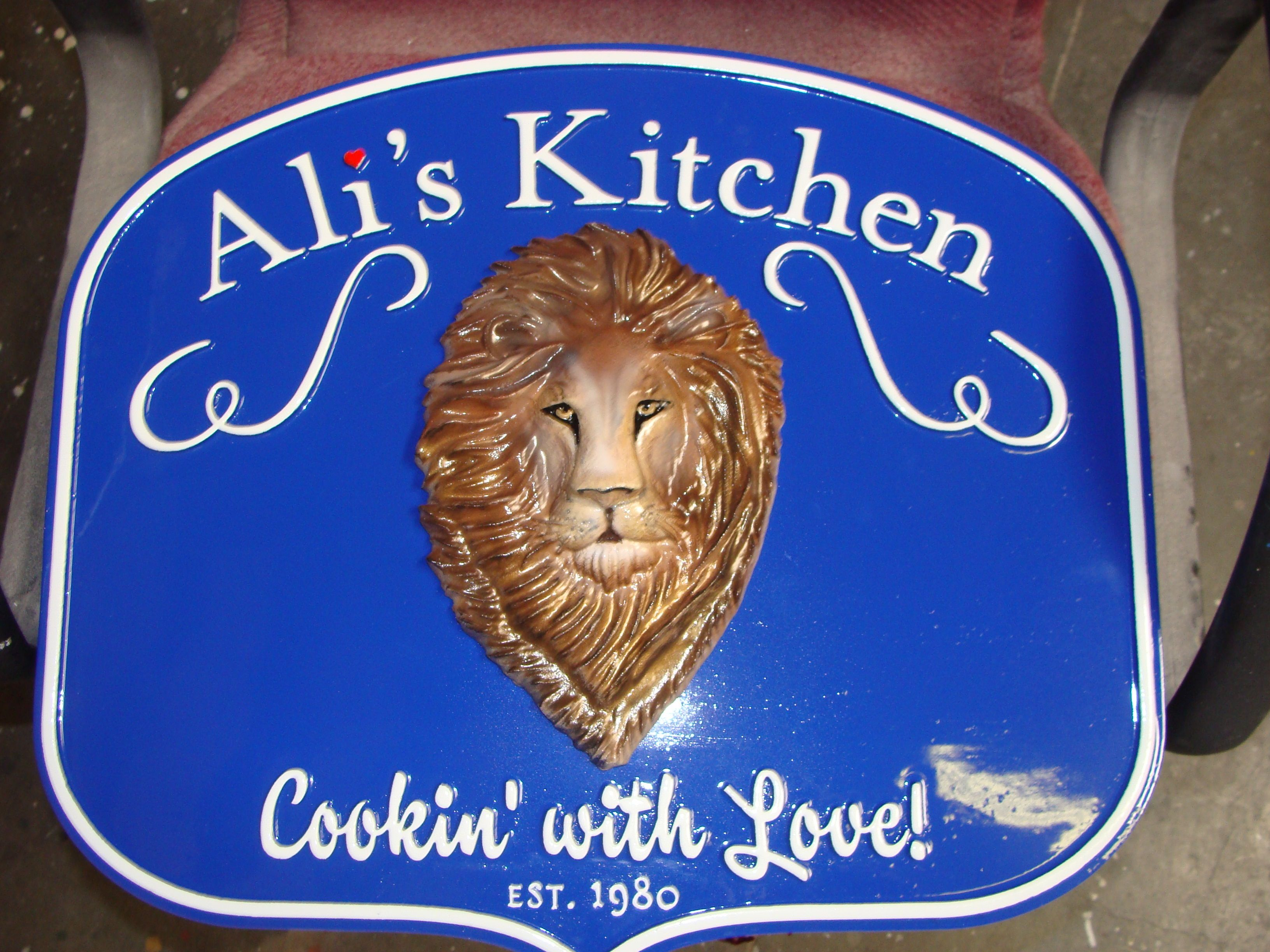 "Q25045 - 3D Carved HDU Cafe Sign, with Lion Head, ""Ali's Kitchen"""