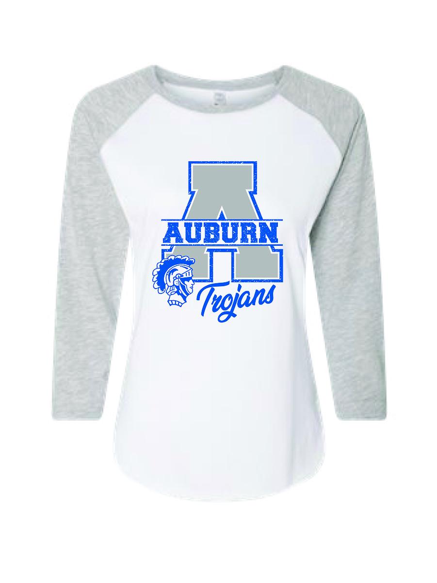 Womens Three-Quarter Sleeve T-Shirt (White with Gray Sleeves)
