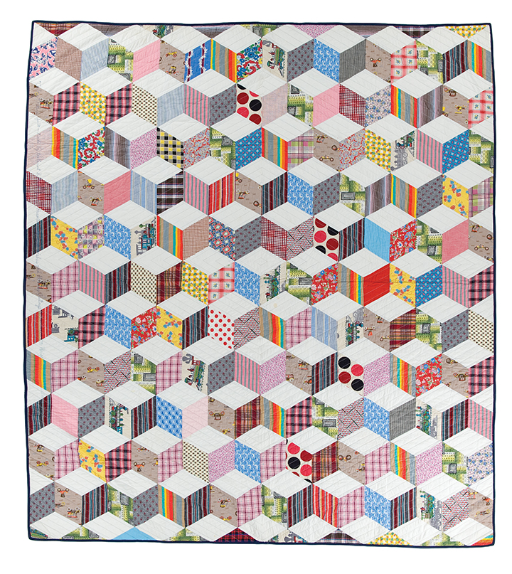 """Untitled (Tumbling Blocks), machine pieced  and quilted by Ernest B. Haight, c. 1968, 96.75"""" x 79.75"""", loaned by Mary E. Haight"""