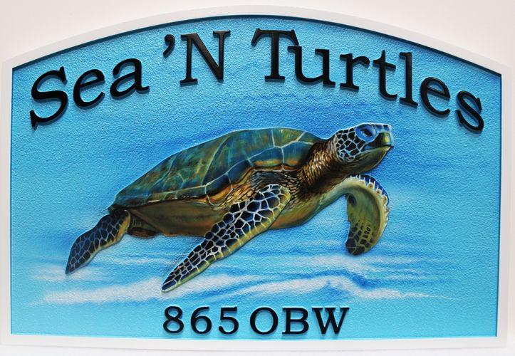 """M1008- """"Sea N' Turtles"""" Property Name Sign (Gallery 20)"""