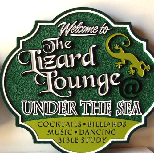 "Q25726 - Carved HDU Sign for ""Lizard Lounge Under the Sea"" ""Cocktails Billiards Music Dancing,"" Carved Lizard"