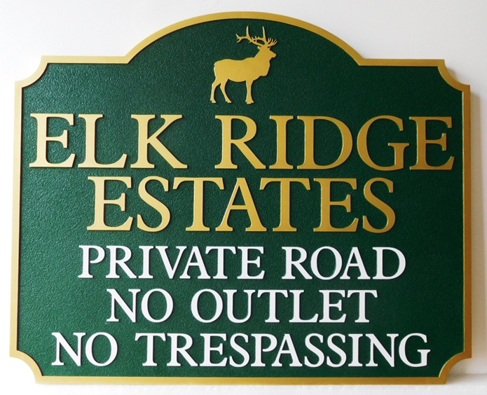 "K20337 - Carved HDU Entrance Sign,  for  the ""Elk Ridge Estates "" Residential Community, Sandblasted Background"