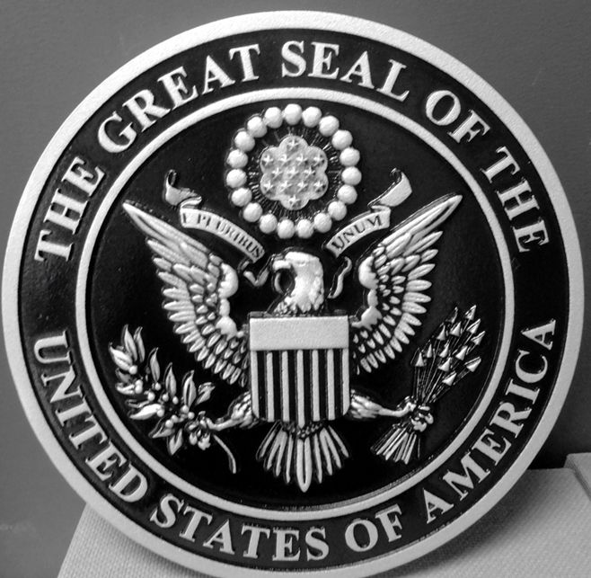 AP-1070 - Carved Plaque of the Great Seal of the United States, Artist Painted