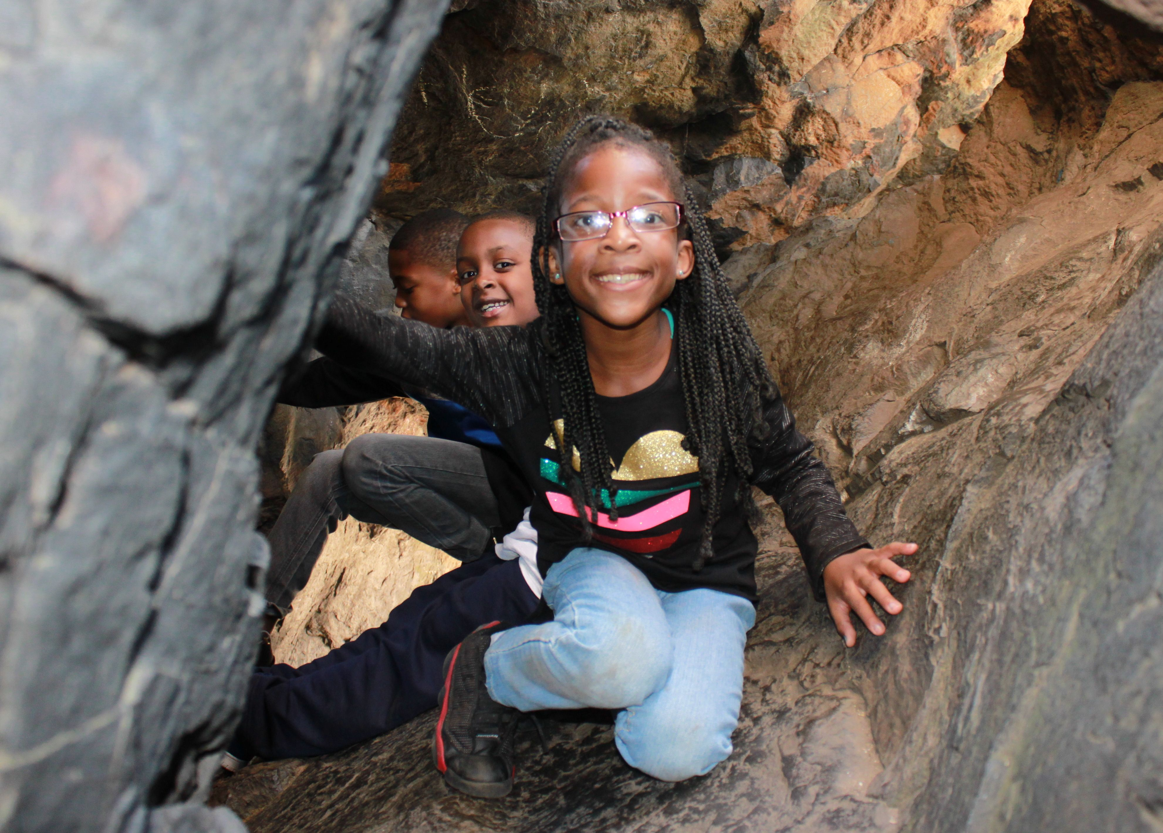 Playing in Judges Cave- Nature's own jungle gym