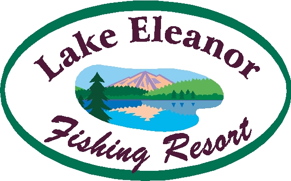 M22348 - Design of Sign for Lake Fishing Resort with Reflection of Mountain in Lake