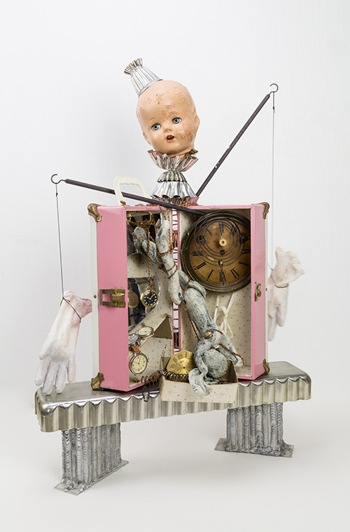 "Ever After, Assemblage, found objects, ceramic gloves & rabbit, 30.5"" x 23"" x 12"""""