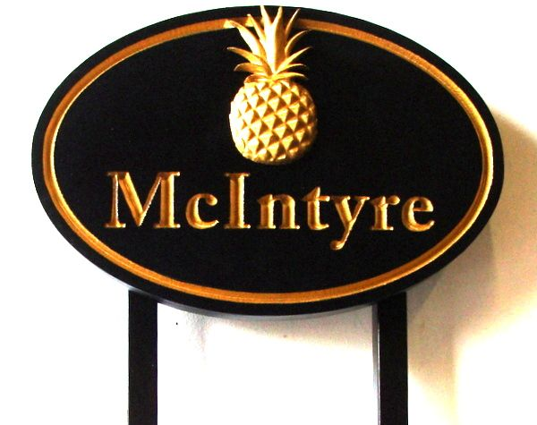 AG108 - Property Name Sign, with Carved 3-D Pineapple