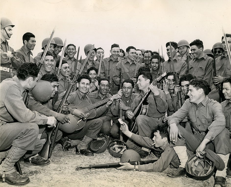 U.S. Army Photo of Platoon of Mexican American soldiers at Fort Benning