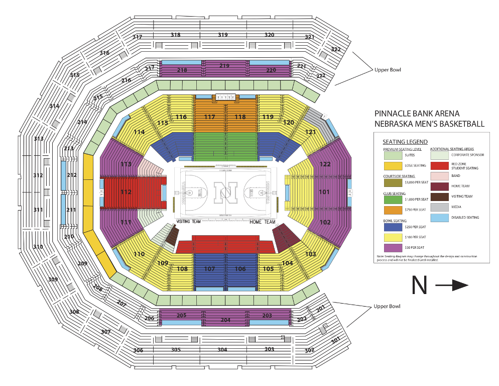 Nebraska Men's Basketball Seating Chart