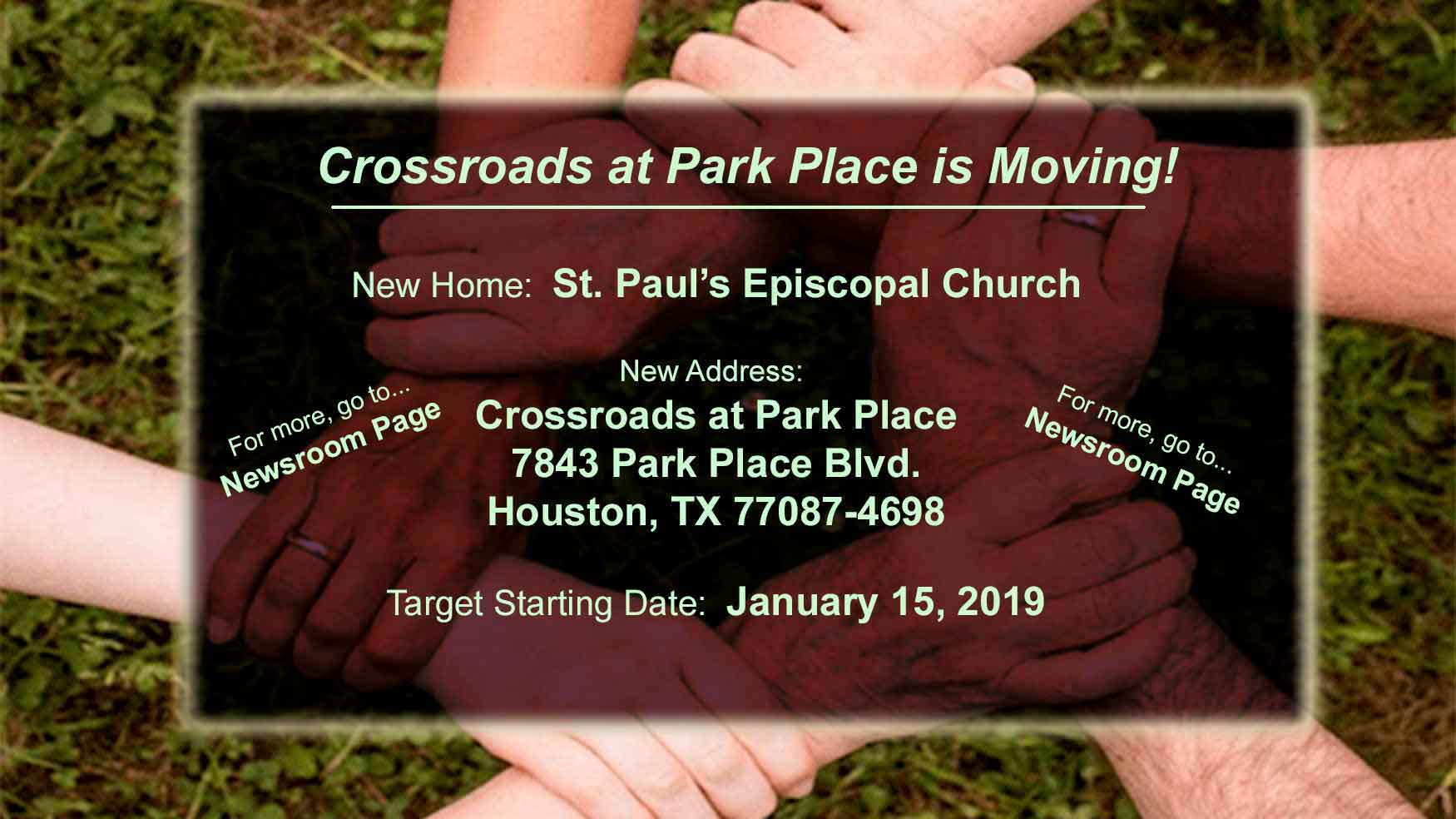 Crossroads at Park Place is Moving!