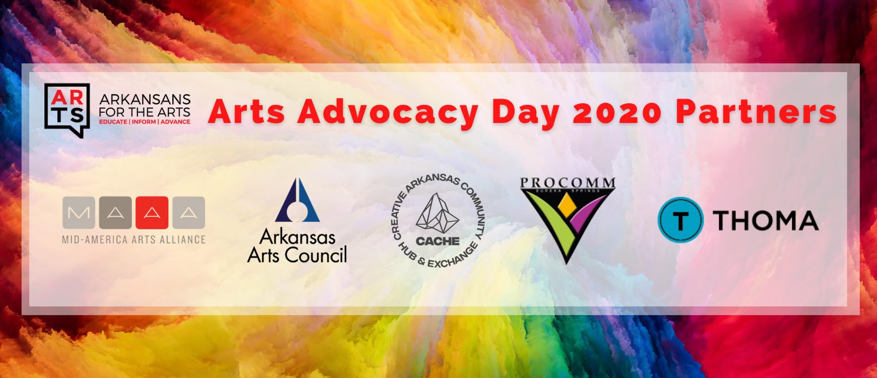 Arkansans for the Arts | Arts Advocacy Day 2020 Partners | Mid-America Arts Alliance, Arkansas Arts Council, Creative Arkansas Community Hub and Exchange, ProCommEureka, Thoma Thoma