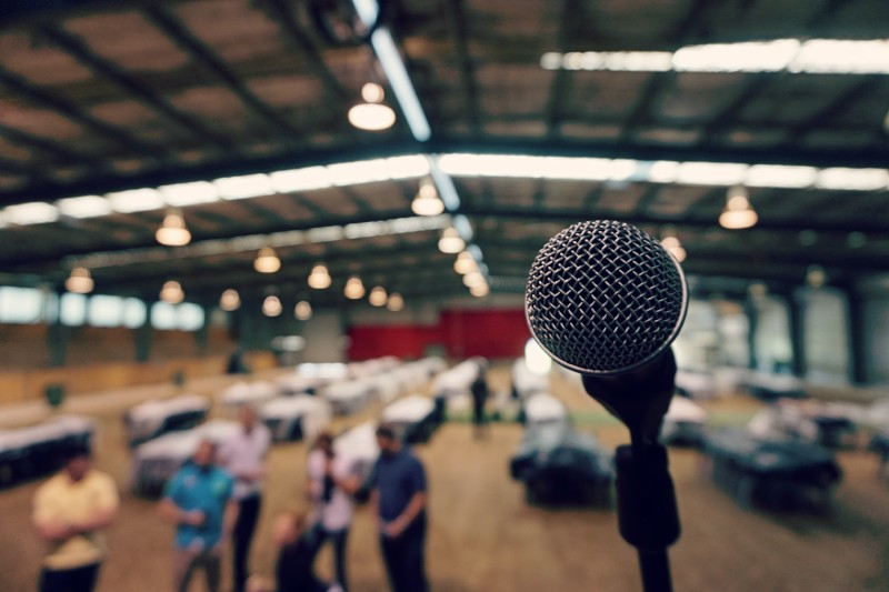 Microphone at business event
