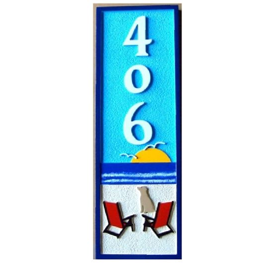 L21039 -  Carved 2.5-D HDU Beach House Address  Sign (Narrow Width), with Two Chairs and Dog facing Ocean